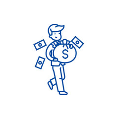 businessman with money bag line icon concept vector image