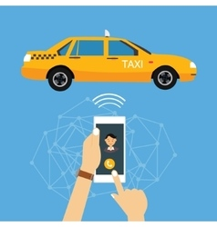 Call taxi cab from mobile phone application online vector