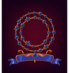 Cartoon banners with shiny gemstones vector