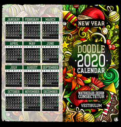 cartoon doodles christmas 2020 year calendar vector image