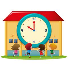 children and big clock at school vector image