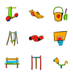 children place icons set cartoon style vector image
