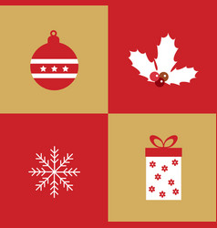 christmas collection of winter holidays icons vector image