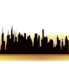 City with rays vector