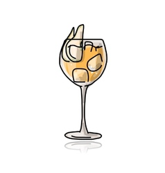 Cocktail with pear sketch for your design vector