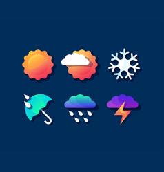 color set of bright weather icons vector image