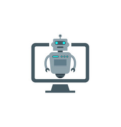 Computer robot logo icon design vector