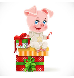 cute cartoon bapig sit on christmas gifts vector image