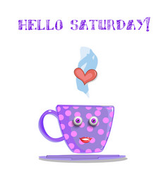 Cute cartoon lilac smiling cup with text hello vector