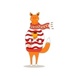 Cute fox christmas holiday greeting card vector