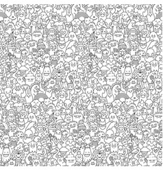 doodle monsters pattern vector image