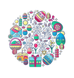 easter elements arranged in circle bunny vector image