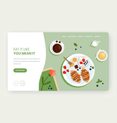 Eat a lot website landing page design vector