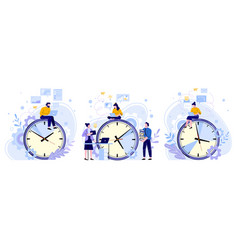 efficiency work time man woman and workers vector image