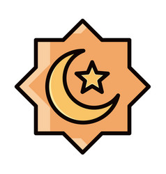 Eid mubarak islamic religious ornament moon star vector