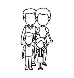 Family together mom dad and childrens vector