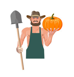 Farmer with pumpkin vector