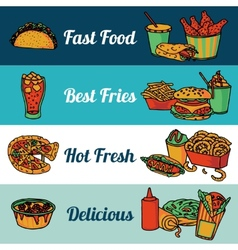 Fast food restaurant menu banners set vector