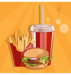 Fast food with burgerfries and cola vector