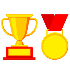 First place winner award cup medal icon set vector