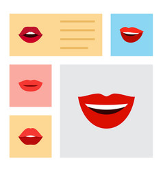 flat icon mouth set of laugh lipstick teeth and vector image