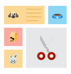 Flat icon pets set of nutrition box puppy shears vector