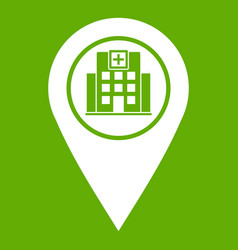 geo tag with hospital building icon green vector image