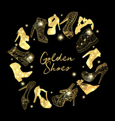 Golden shoes collection symbols with silhouettes vector