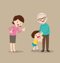 Grandparents and grandchildrengrandson give a vector