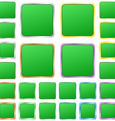 Green blank square metal button set vector