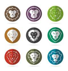 group lion face in circle vector image