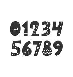 Hand drawn folk scandinavian numbers set vector
