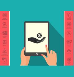 hand holding money - dollar symbol vector image