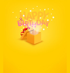 Happy birthday banner with gift box and confetti vector