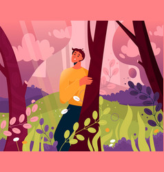 happy man walking in abstract magic forest scene vector image