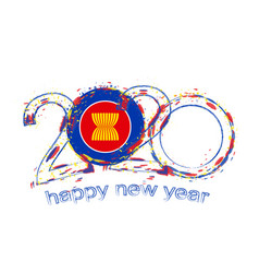 Happy new 2020 year with flag asean vector