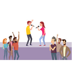 karaoke party people singing song on stage vector image