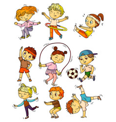 Kids sports children working out doing sports vector