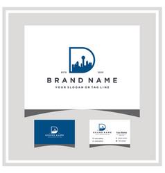Letter d dallas city skyline logo design vector