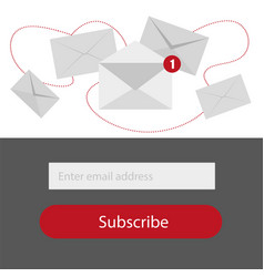 Light subscribe to newsletter form in redgrey and vector