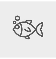 Little fish thin line icon vector