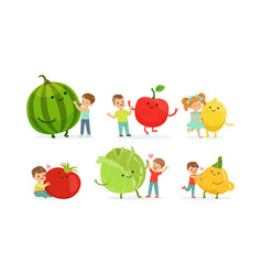 Little kids playing with big fruits and vegetables vector