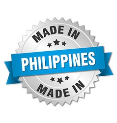 made in Philippines silver badge with blue ribbon vector image