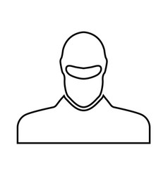 Man in balaclava or pasamontanas black icon vector