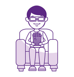 man on sofa eating pop corn vector image