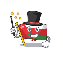 Mascot flag oman with in magician character vector