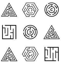 maze icon set vector image