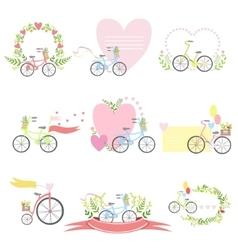 Message Template Set With Bicycles And Hearts vector image