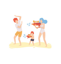 mom dad and son playing water gun on beach happy vector image