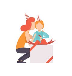 mom giving large gift box to her little son kid vector image